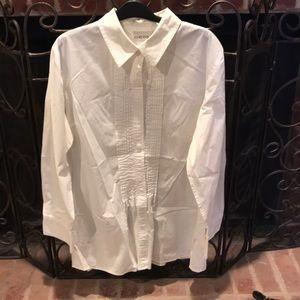 Amazing white cotton tuxedo type tunic shirt